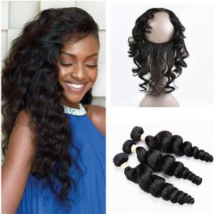 Estensione dei capelli umani sciolti dell'onda profonda 3Bundles con 360 Frontal del merletto Chiusura dei capelli vergini peruviani con Pre Pizzicato 360 chiusura del pizzo