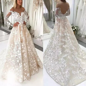 빈티지 라이트 샴페인 라인 웨딩 드레스 2019 쉬어 롱 슬리브 Bateau Neckline Appliqued Long Sweep Train Wedding Bridal Gowns