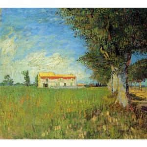Leinwandbild Handgemalte Ölgemälde von Vincent Van Gogh Bauernhaus in einem Weizenfeld Gemälde für Wanddekor