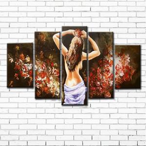 100% абстрактная ручная роспись 5 шт. сексуальная девушка набор масляной живописи ручной работы масляной живописи современные стены искусства украшения без рамки