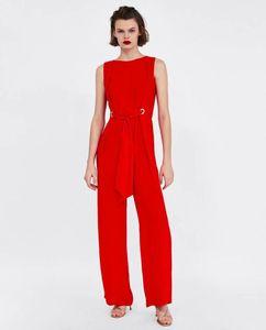 Mling 2018 Yeni Bahar Yaz Marka Tasarımcısı Kadınlar Moda Seksi Kadınlar Için Tulumlar Uzunluğu Pantolon Kırmızı Dantel Yay Kolsuz Tulum
