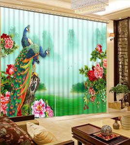 as cortinas chinesas do escurecimento personalizam cortinas de janela para a sala de visitas parede de pavão luxuosa quebraram a cortina 3d moderna
