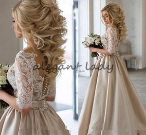Ange Etoiles Vintage Lace Stain Champagne Half Sleeve Prom Dresses Sheer Neck Covered Bottom Cheap Dubai Arabic Occasion evening Gown