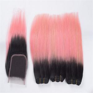8A Дешевые двухцветные Ombre Закрытие с Розовыми Пучками Волос 1B Розовое Золото Ombre Прямые Плетения Человеческих Волос с 4X4 Топ