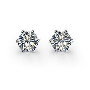 Piuttosto 1CT / Pezzo di orecchini in argento sterling 925 con perno rotondo SONA Marca diamanti sintetici Orecchini in oro bianco