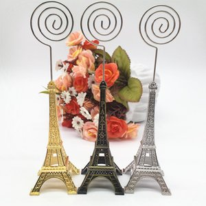 12pcs / lot حاملي بطاقات اسم الزفاف Paris Style Party Supplier Paris Eiffel Tower Place Card Holder with Name Place Tags