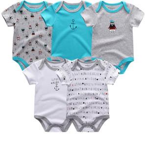 5 PÇS / LOTE Unisex Qualidade Superior Macacão de Bebê de Manga Curta Calça O-Neck 0-12 M Novel Recém-Nascido BoysGirls Roupas de bebe Roupas de Bebê