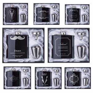 2017 indirim Sağdıç hediye Kişiselleştirilmiş Kazınmış 6 oz Hip Flask Paslanmaz Çelik Beyaz Kara Kutu Hediye Ile Düğün Iyilik