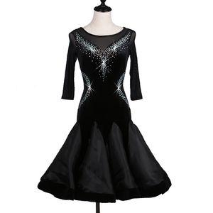 Customize black latin dance costumes for women latino dress rumba dance dresses modern costumes women latin salsa dress