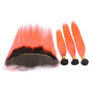 # 1B / Orange Ombre Tramas brasileñas de cabello humano con frontal Recto Naranja Ombre Paquetes de armadura de cabello virgen con cierre frontal de encaje completo 13x4