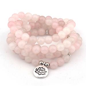 DIEZI Ethnique De Mode Rose cristal lotus Charme Bracelet 108 Mala Perles Pierre Naturelle Bouddha Yoga Bracelet Pour Femmes Hommes