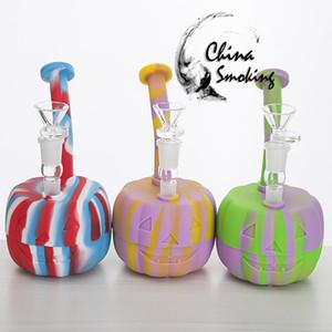 Pipa ad acqua in silicone Pumpkin con tubo Galss Pipa a 7 pollici in silicone Good Grade Silicon Bong in silicone colorato