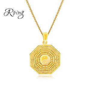 Fantastico oro design cinese Ying Yang uomini collane ciondolo Taiji Bagua pendente di fascino per gioielli maschile regalo KX690