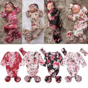 2018 Brand New Прелестный Новорожденного Девушка Хлопок Outfit Цветочные Длинные рукава Пеленальный Wrap Одеяло спальный мешок головная повязка 2шт 0-6m