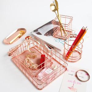 Métal Fil Stylo Porte-Crayon Maquillage Brosse Tasses Conteneur Filaire Maille Bureau Papeterie Fournitures Organisateur Panier De Rangement