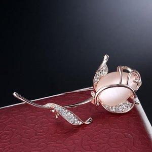 SHUANGR Opal Rose Flower Broche Pin Rhinestone aleación Gold-Color Brooches Regalo de cumpleaños Accesorios de prendas de vestir
