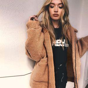 Nueva moda otoño Fuzzy Faux Fur Teddy Bear Coat Jacket moda mujer con capucha abierta chaqueta de bolsillo de manga larga para mujer