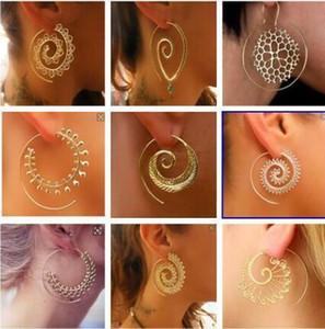 DHL Donne orecchini a cerchio Ornato Ricciolo Gypsy Tribal Orecchini dorati etnici per le donne dei monili del partito di moda