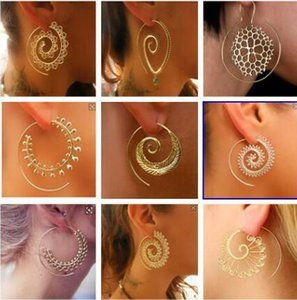 DHL Frauen-Band-Ohrring-Aufwändige Strudel Gypsy Tribal Ethnic goldene Ohrringe für Frauen Fashion Jewelry Partei