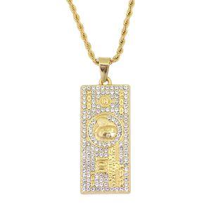Горячая хип-хоп 100 долларов США кулон ожерелье ювелирные изделия с 24-дюймовый веревки цепи N888