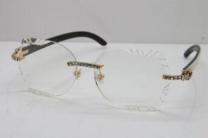 Freies Verschiffen 8200762A Unisexgläser Hot Holz Optical Randlos Big Stone Weiß Innerhalb Schwarz Buffalo Horn Frauen Brillen treibender Brille