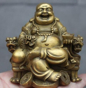 Cobre de latón chino tallado sentarse Dragon Chair YuanBao Maitreya Buddha Statue
