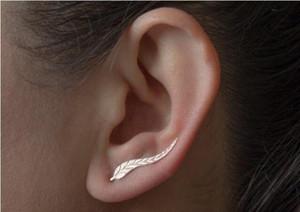 DoreenBeads Mädchen-Frauen-Bolzen-Ohrringe Blatt-Ohr-Bergsteiger-Ohr-Crawlers Silber-Ton-Farbe 24mm x 4mm