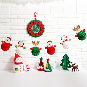 Wholesale-6PCS(1Set) Christmas decor hanging paper ball garland Xmas ornaments new year home decoration
