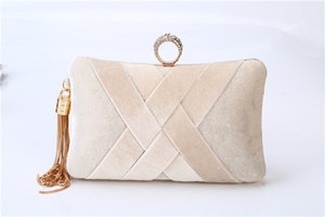 Handbags bags tassel Velvet handle hand clutch pillow shape for bridal and lady wear 1 pc a lot