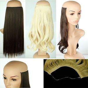 Nuevo alambre invisible de 20 pulgadas sin pinzas en extensiones de cabello postizos de línea de pez cabello natural verdadero falso pelo sintético