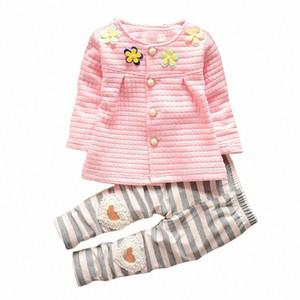 BibiCola novo bebê conjunto de roupas de bebê meninas roupas de flores t-shirt + calça listrada 2 pcs terno do bebê recém-nascido conjunto de roupas Y1892808