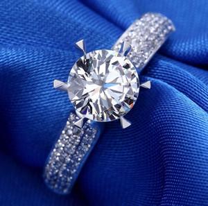 ZHF 쥬얼리 2ct 라운드 SONA CZ Diamant 약혼 반지 솔리드 925 스털링 실버 결혼 반지 여성 우표 S925