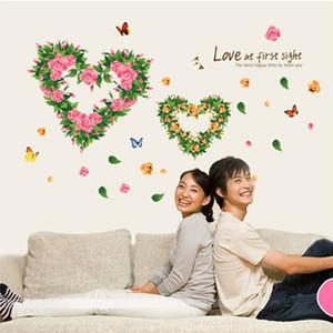 Schmetterling Liebe Herzform Blumen Wandaufkleber Wohnzimmer Schlafzimmer Wandbild Poster Liebe Wand Zitat Aufkleber Grafik