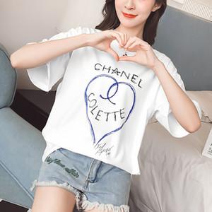 TEAEGG Camiseta de manga corta 2018 Nuevo patrón suelto y cómodo comodín Ocio Estudiante amor impresión Camisa de fondo km704