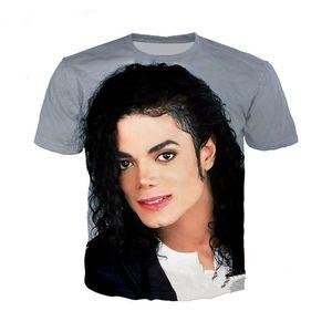 Nuevos Hombres / Mujeres Camiseta 3D Singer Michael Jackson Imprimir Camisetas de manga corta Camisetas Harajuku Fitness Casual Tops Camisa U973