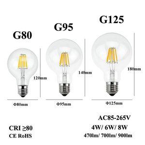 E26 E27 LED ampoule à incandescence 110/220 / 240V Edison Candle Light G80 G95 G125 Lampe en verre clair pour Retro Pendant Fixture Lustre