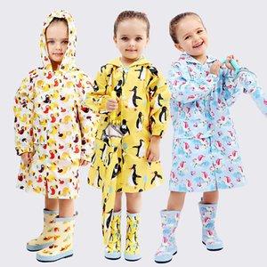 La mejor oferta Kids Raincoats Cartoon impermeable Girls Boy Rain Coat Hooded Rain Wear Niños Poncho Rain Gear