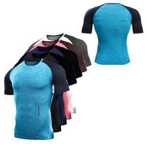 Yeni Erkekler GYM Koşu T Shirt Sıkıştırma Kısa Kollu Adam Vücut Geliştirme Eğitim Tayt Spor Gömlek Açık Koşu Spandex Tee