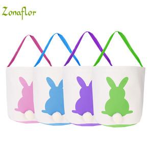 Easter Bunny Ears Basket Basket Mix Lienzo de color Pascua cesta bunny oídos bolsas para niños regalo cubo Conejo de dibujos animados carring huevos Bolsa