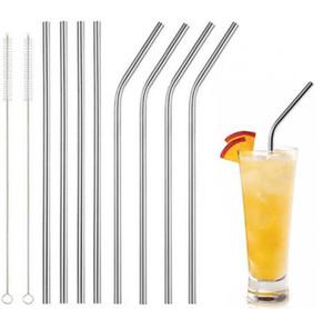 30oz 20oz 컵 스테인레스 스틸 스트로 내구성 재사용 가능한 금속 10.5 인치 Extra Long Drinking Straws 30 20 온스 머그컵 DHL