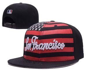 2018 Moda Hip Hop Giants Snapback Cap con bandiera USA Stampa ricamata lettera SF Logo Sport Team Baseball cappello regolabile