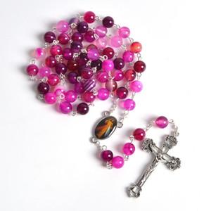 Perles rondes en pierre de mode femmes colliers St Faustina et Jésus miséricordieux belle pièce maîtresse catholique chapelet