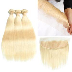 Mejor venta de 10-30 pulgadas de largo # 613 rubio cabello humano 3 paquetes con cierre frontal de encaje 8A visón brasileño pelo recto onda de cuerpo HCDIVA
