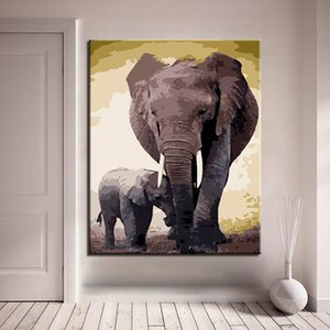 Elephant Animal Painting By Numbers Kits For Kids Handpainted Paints Kits Unique Christmas Gift For Living Room Wall Art