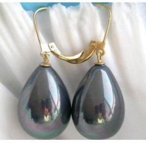 ELEGANT 13-15mm BLACK South Sea Shell Pearl 14K yellow Gold Earring + GIFT BOX
