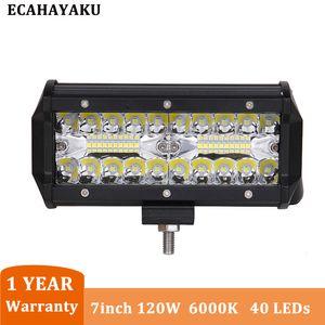 1 Pz ECAHAYAKU del lavoro del LED Light Bar 7 pollici del lavoro del LED Bar 12V Spotlight Combo fascio 6000K auto 120W Offroad Super Bright luce di azionamento