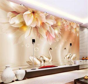 Fond d'écran 3D Fashion Flower Swan TV 3D Backdrop Salon Chambre Arrière-plan mural papier peint photo pour les murs 3 d