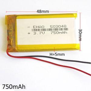 Modelo 503048 3.7V 750mAh Lithium Polymer Li-Po bateria recarregável para MP3 MP4 DVD PAD telefone móvel GPS banco de potência Câmera E-books Recoder