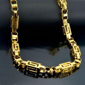 Cadena de collar bizantino en tono dorado para hombre de acero inoxidable 60 mm fresco 60 mm N292