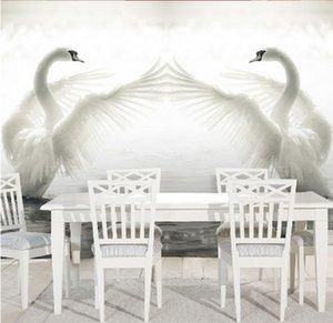 3D büyük ölçekli duvar resimleri Swan Göl TV arka plan duvar kağıdı duvar kağıdı oturma odası otel kanepe yatak odası dokunmamış kumaş